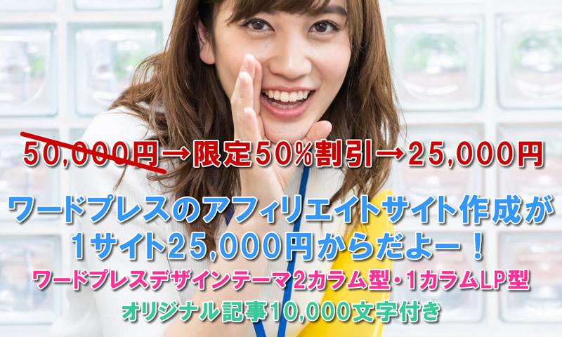 アフィリ・ブログサイト作成プラン【WPサイト25,000円/記事1万字付】